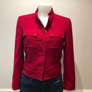 Talbots red cropped wool jacket